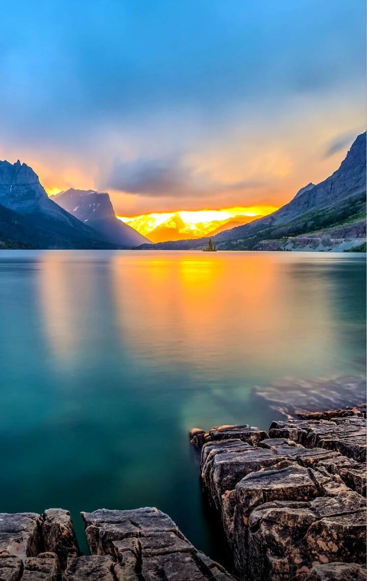 Really Nice Wallpapers 720x1140 Sunset Lake Mountain 3219127 Hd Wallpaper Backgrounds Download