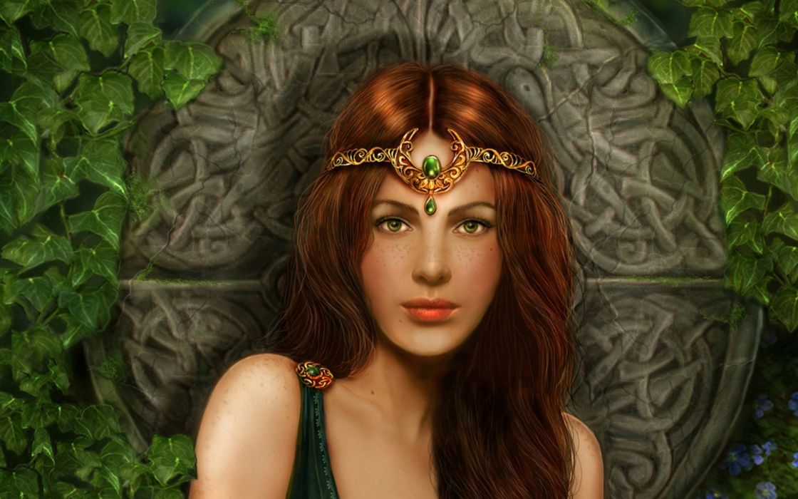 Very Beautiful Angel Girl Fantasy Green Eyes Face Woman - Cg Artwork , HD Wallpaper & Backgrounds