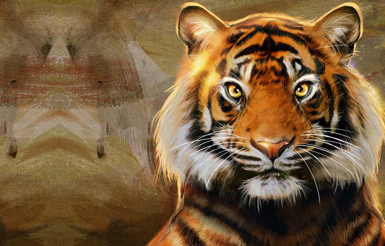 Photo Wallpaper Strips, Tiger, Predator, Art, Big Cat, - Bengal Tiger , HD Wallpaper & Backgrounds
