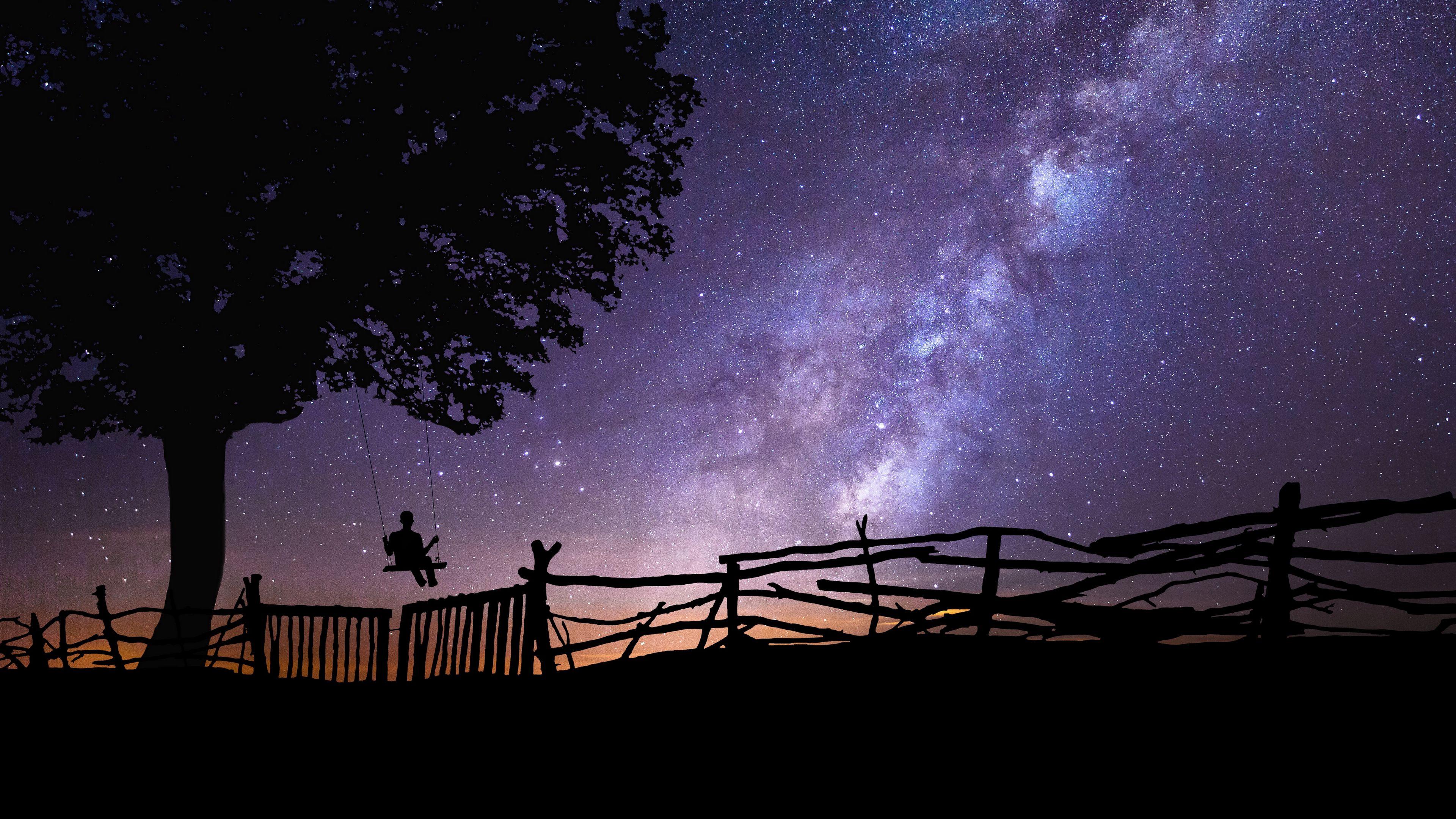 Wallpaper Starry Sky, Silhouette, Swing, Tree, Night - Beautiful Country Night , HD Wallpaper & Backgrounds