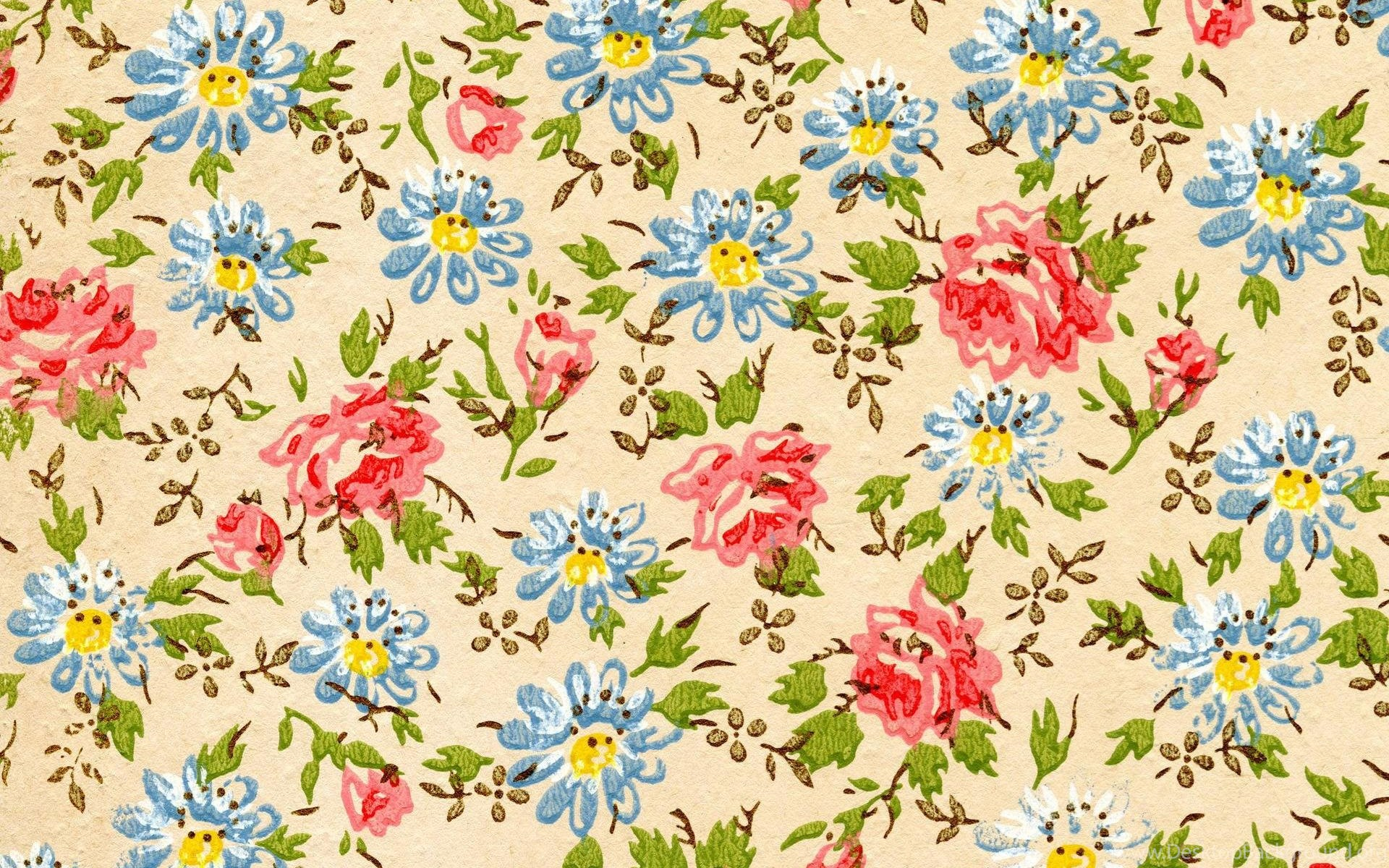 Floral Computer Wallpapers - 2048 X 2048 Flowers Pattern , HD Wallpaper & Backgrounds