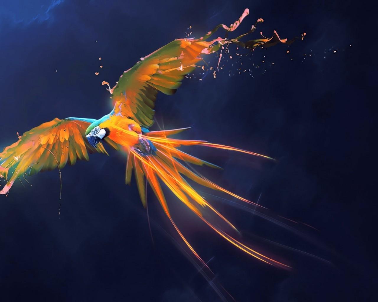 Parrot, Digital Art, Feathers, Flying, Birds - Flying Digital Art Bird , HD Wallpaper & Backgrounds