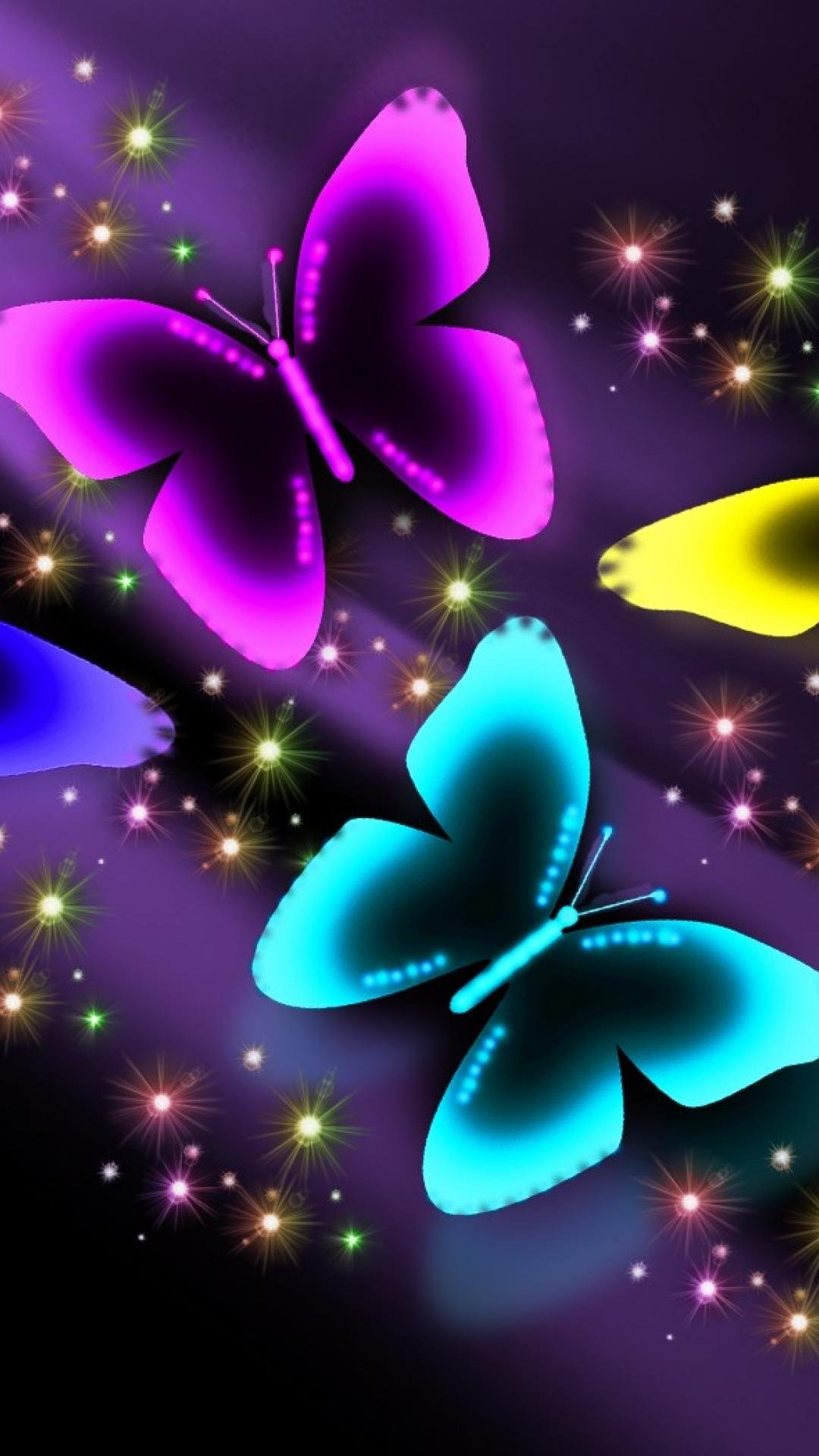 Neon Wallpapers For Mobile Neon Butterfly On Black Background 3238269 Hd Wallpaper Backgrounds Download
