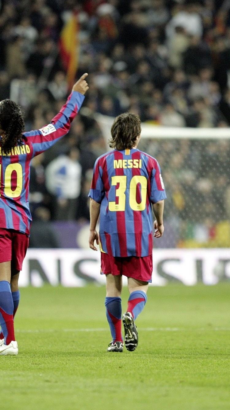 Fc Barcelona Wallpaper Iphone - Lionel Messi Y Ronaldinho , HD Wallpaper & Backgrounds