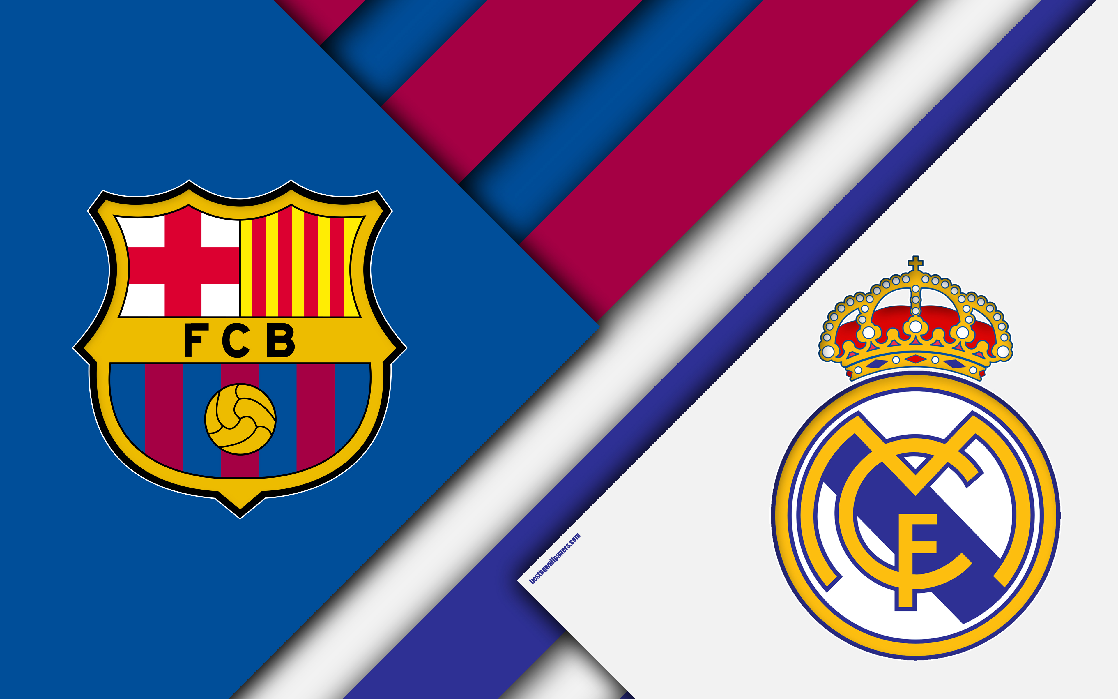 Fc Barcelona Vs Real Madrid, El Clasico, 4k, Logos, - El Clasico 2019 La Liga , HD Wallpaper & Backgrounds