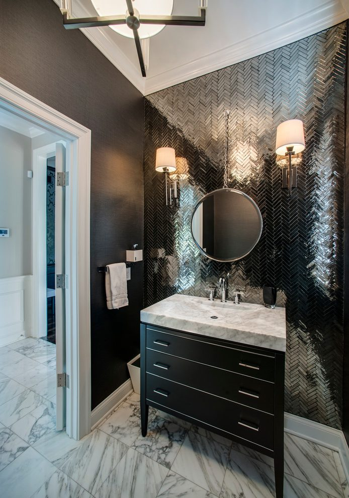Awesome Black Wallpaper Accent Wall Powder Room 3269578 Hd Wallpaper Backgrounds Download