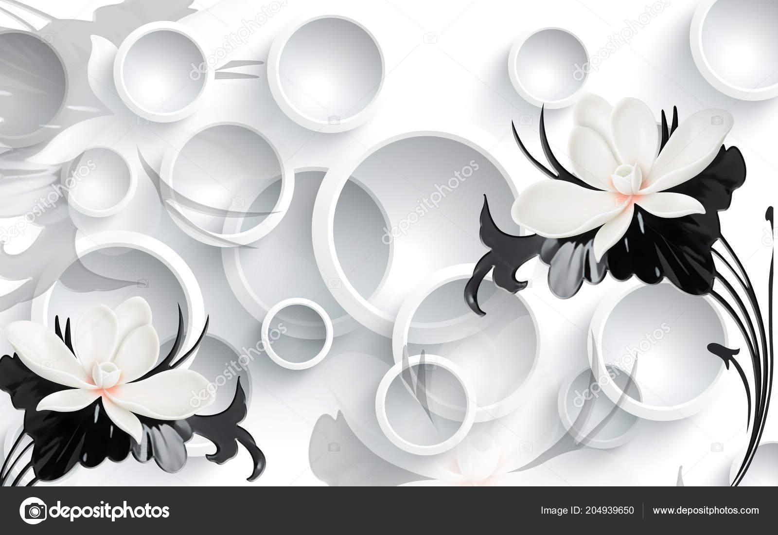 White Flowers White Circle Background Wallpaper Walls - Papel De Parede 3d Com Flores , HD Wallpaper & Backgrounds