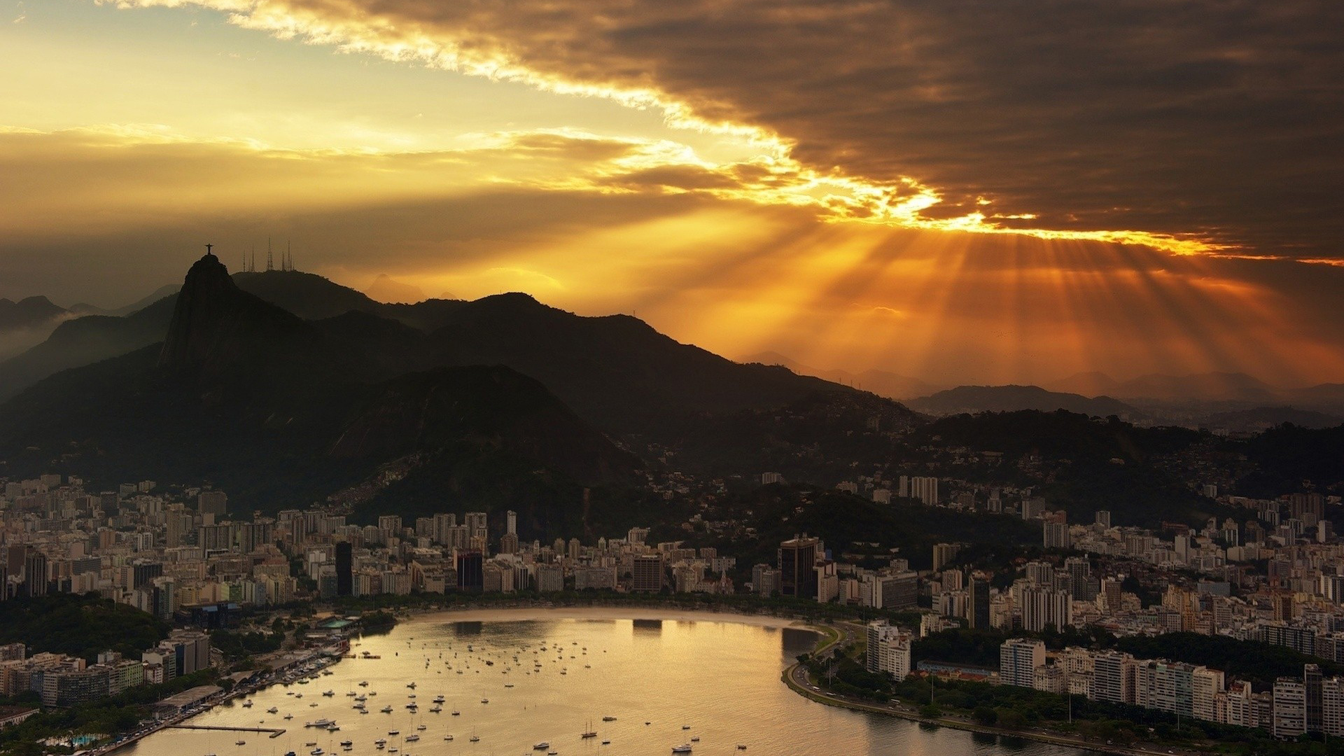 Beautiful Rio De Janeiro Hd Desktop Panorama Widescreen - Rio De Janeiro Evening , HD Wallpaper & Backgrounds