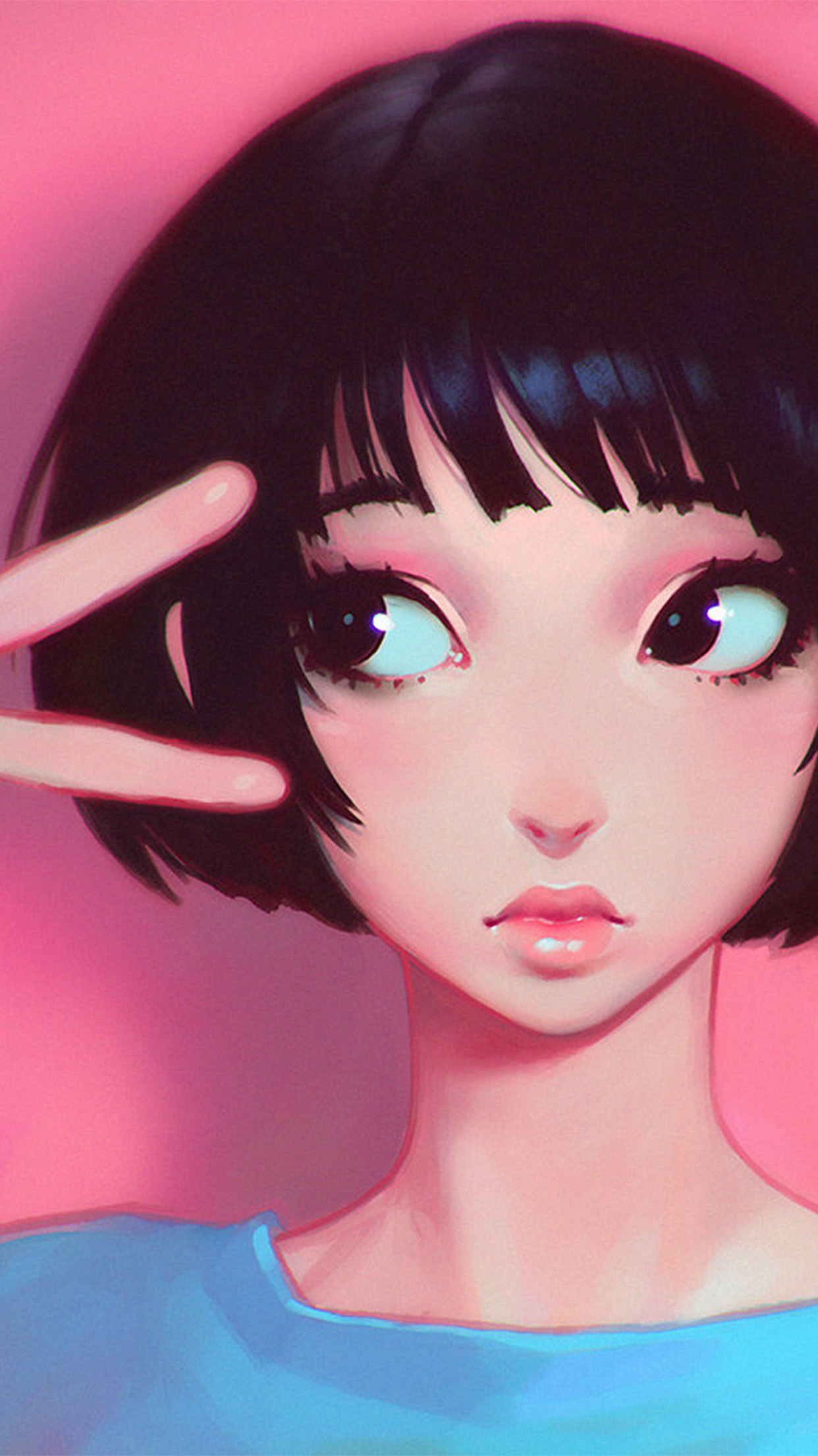Ay03 Ilya Kuvshinov Pink Girl Illustration Art Iphone
