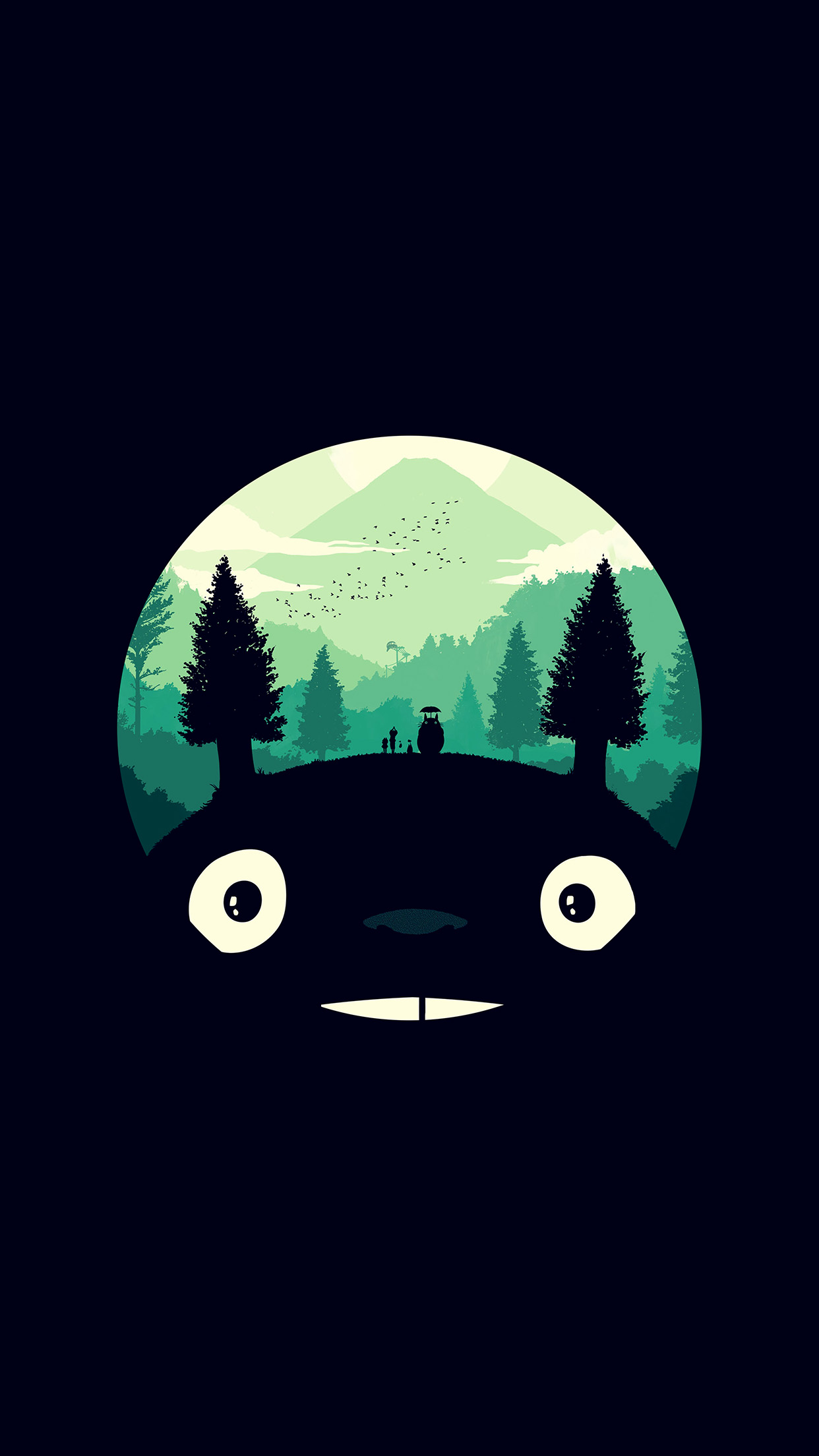 Ao38 Totoro Art Illust Simple Cute Dark - Totoro Phone Wallpaper Hd , HD Wallpaper & Backgrounds