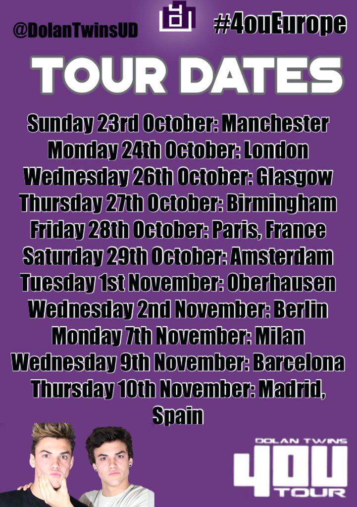 Dolan Twins Tour On Twitter International Dates Ethan - Dolan Twins 4ou Tour Locations , HD Wallpaper & Backgrounds
