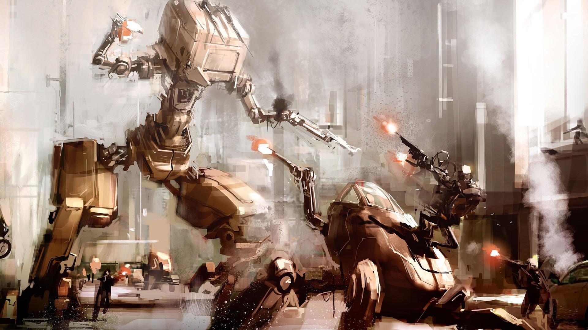 #city, #concept Art, #war, #artwork, #futuristic, #fantasy - Mech Robots Concept Art , HD Wallpaper & Backgrounds