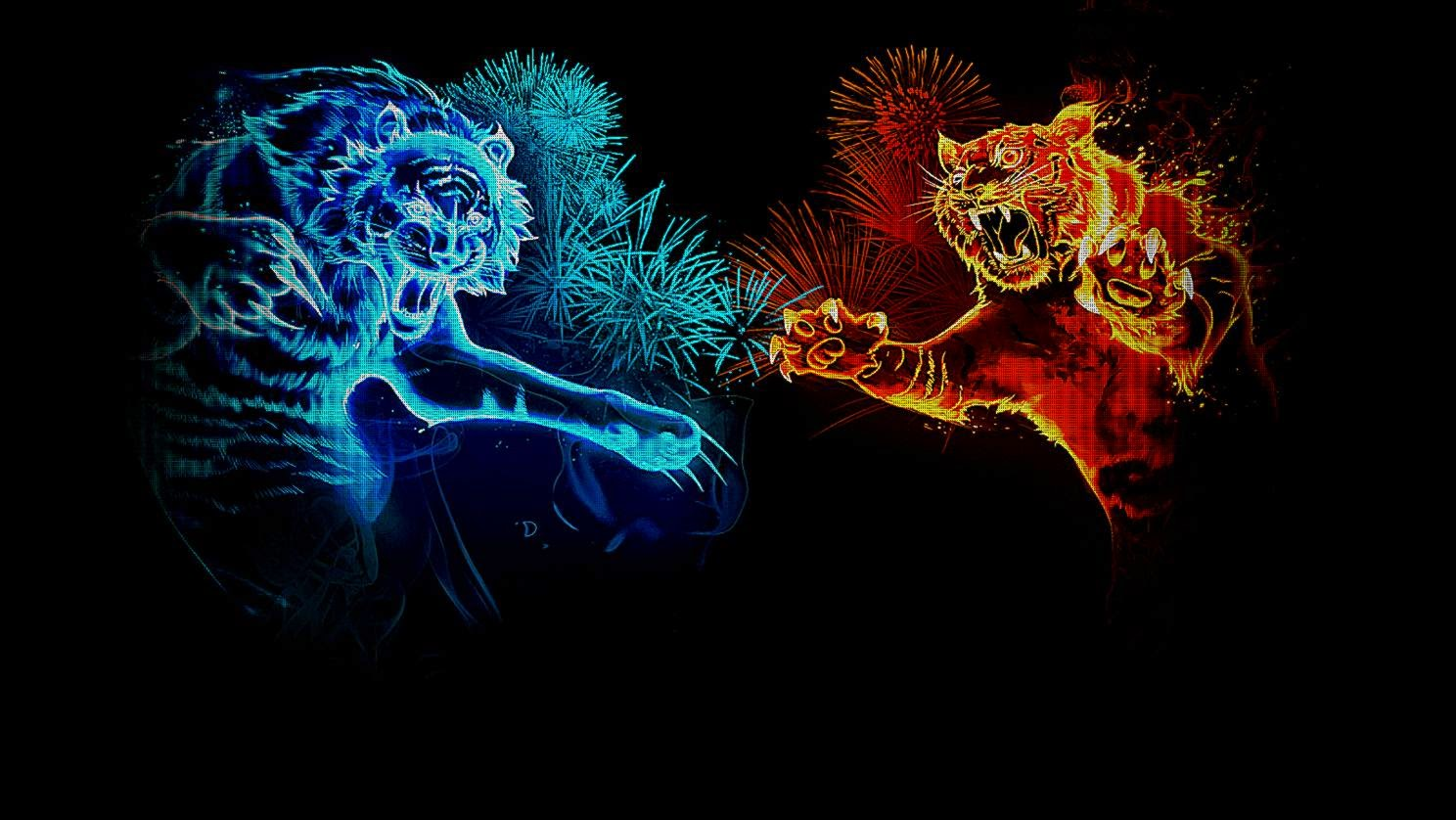 Abstract Animals Wallpapers Hd Fire And Ice Tigers 342535