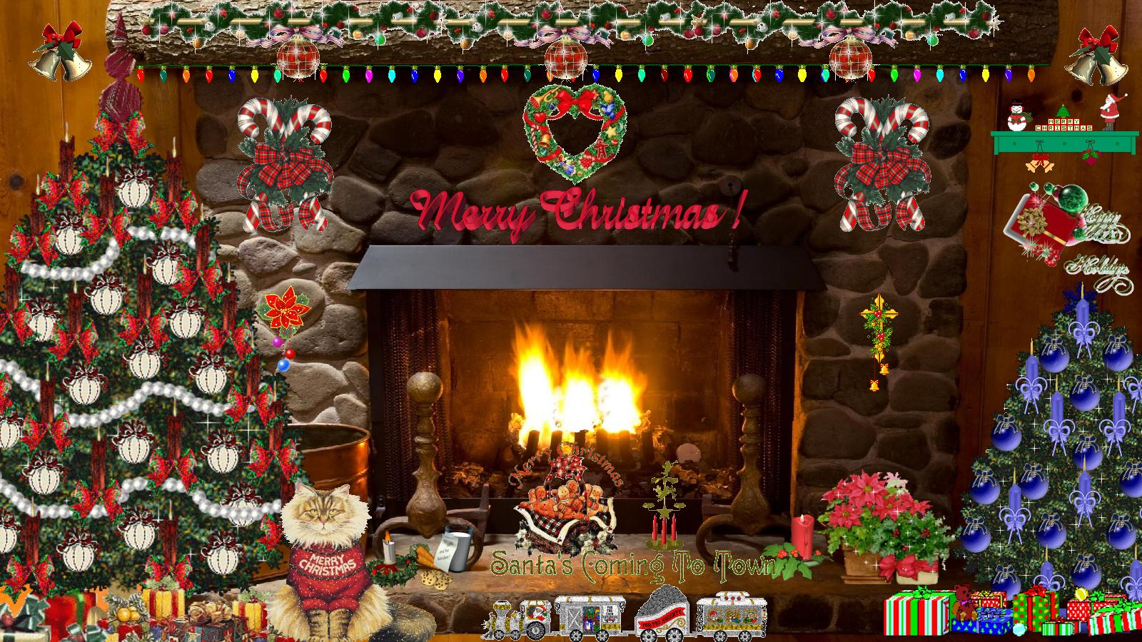 Christmas Fireplace Wallpaper Related Keywords - Merry Christmas Animated Fireplace , HD Wallpaper & Backgrounds