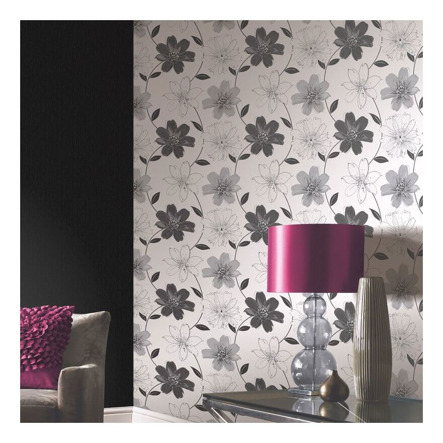 Flowers Floral Glitter Shiny Wallpaper Textured Sparkle White Purple Silver