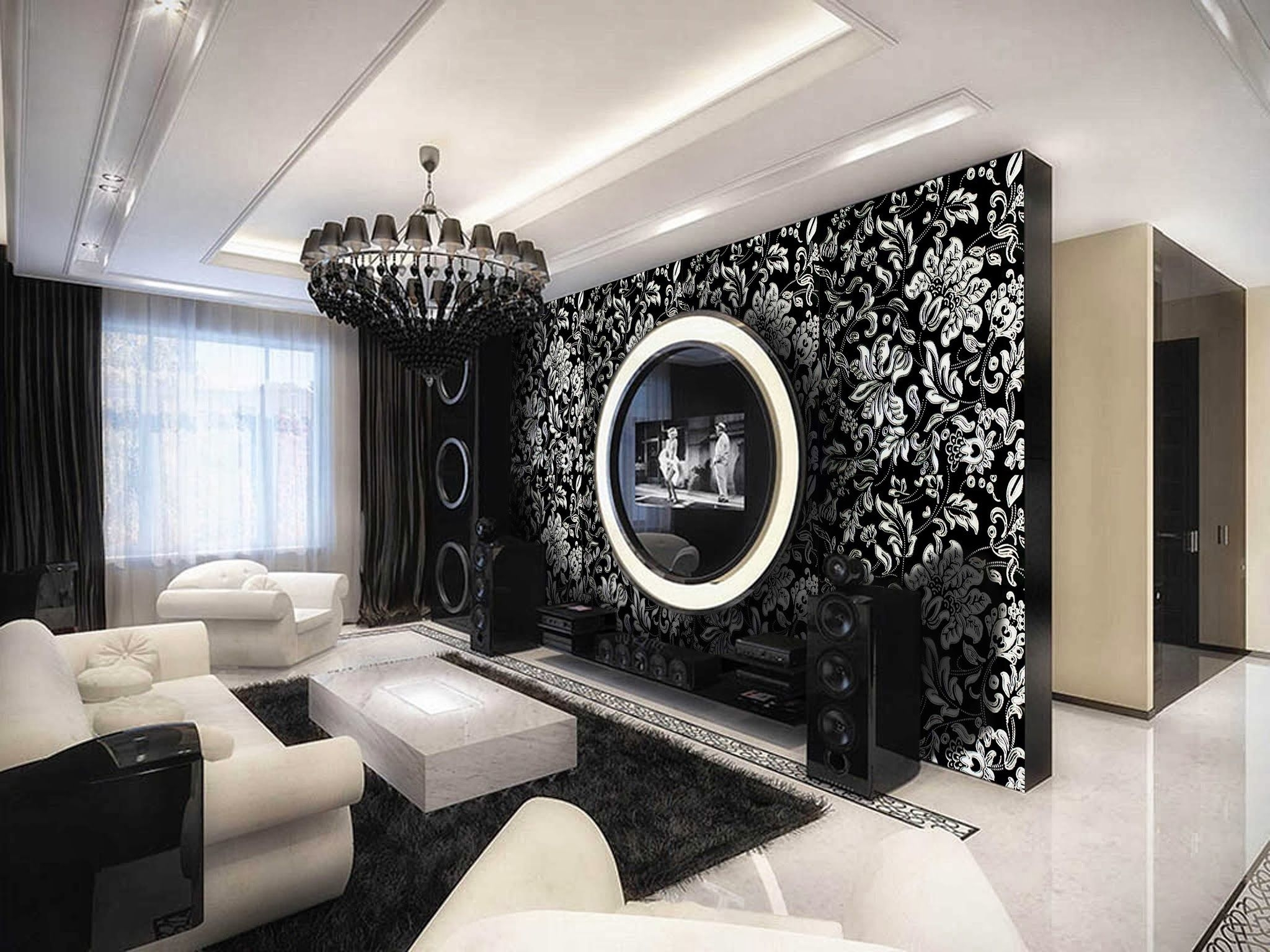 Amazing Living Room Design With Black White Nice Floral ...