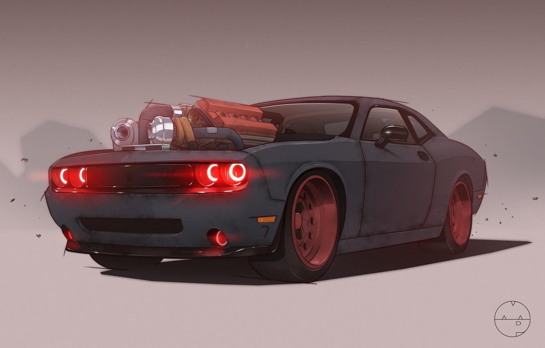 Photo Wallpaper Auto, Figure, Machine, Dodge, Challenger, - Dodge Challenger Demon Supercharger , HD Wallpaper & Backgrounds