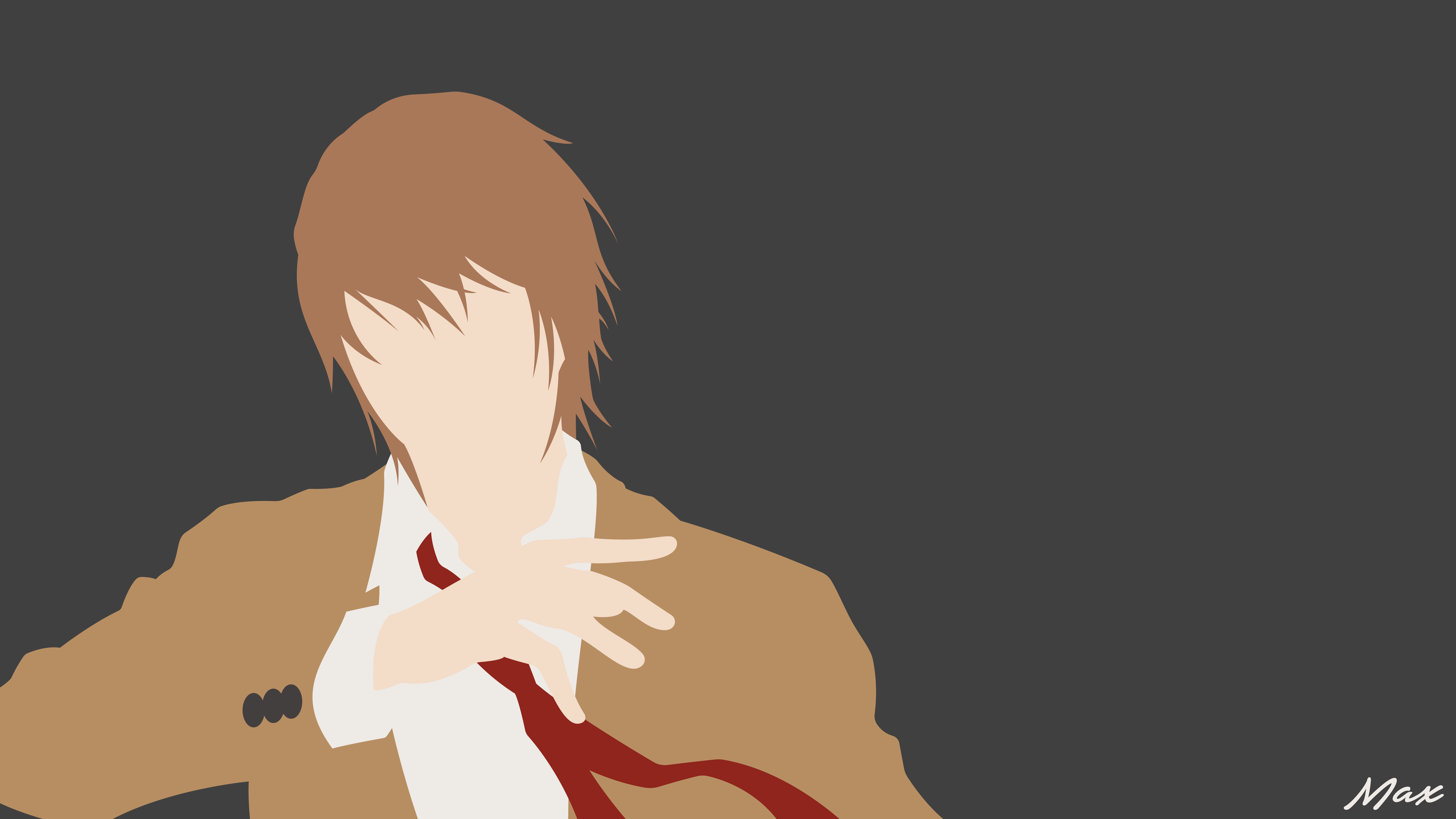 Anime Light Yagami Brown Hair Death Note Boy Tie