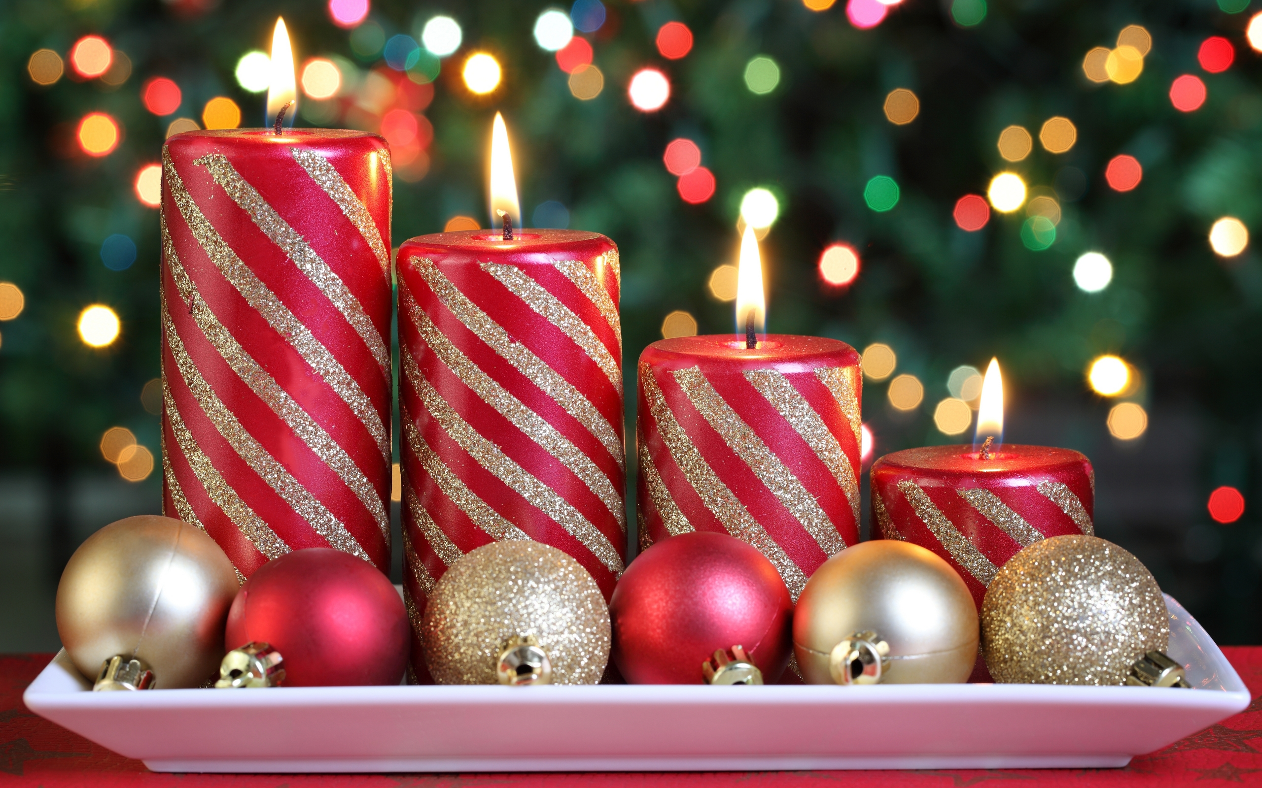 Merry Christmas Wallpaper 2017 - Candles Decoration For Christmas , HD Wallpaper & Backgrounds