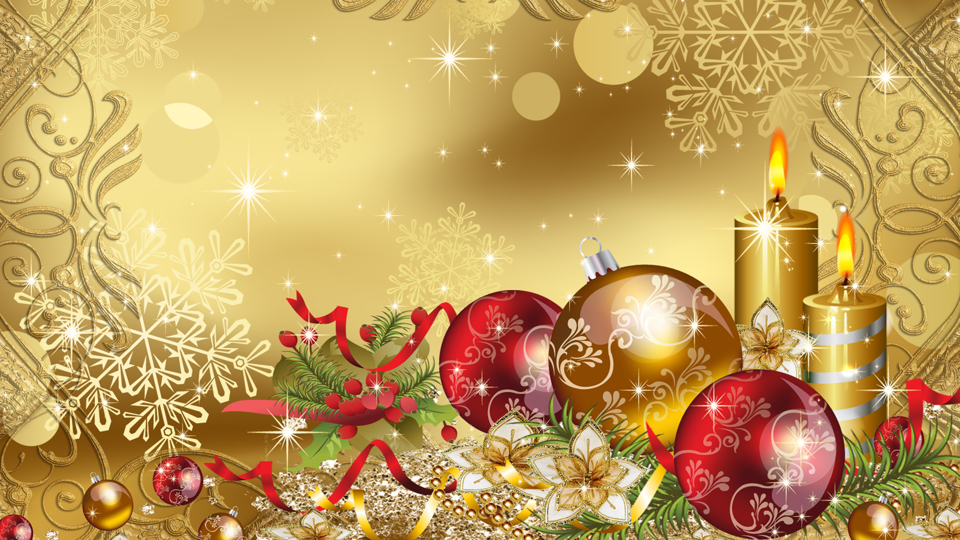 Beautiful Christmas Pictures - Christmas Wallpaper Backgrounds Gold , HD Wallpaper & Backgrounds