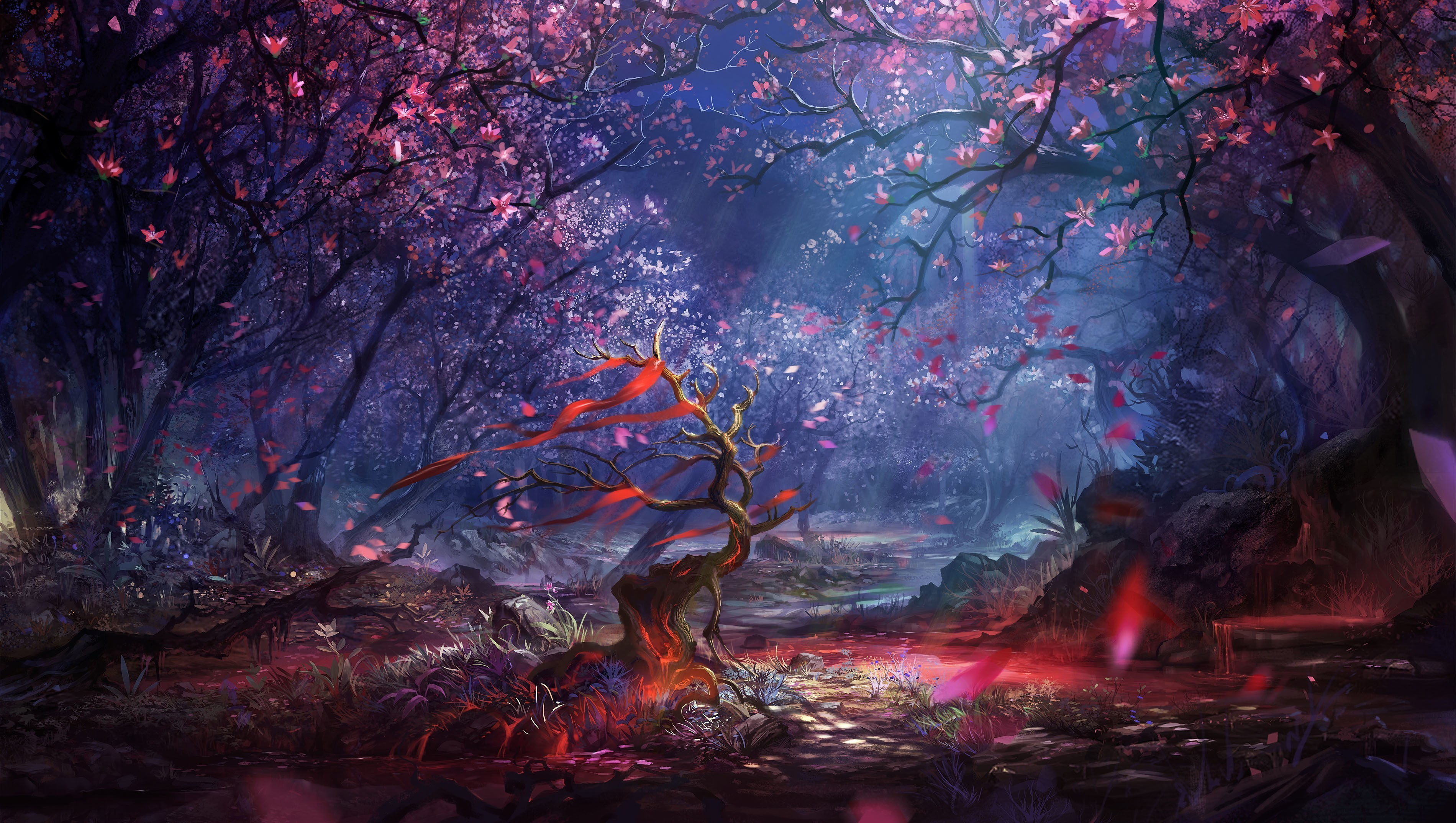 Download Beautiful Forest Art Hd Wallpapers In Screen - Fantasy Forest , HD Wallpaper & Backgrounds