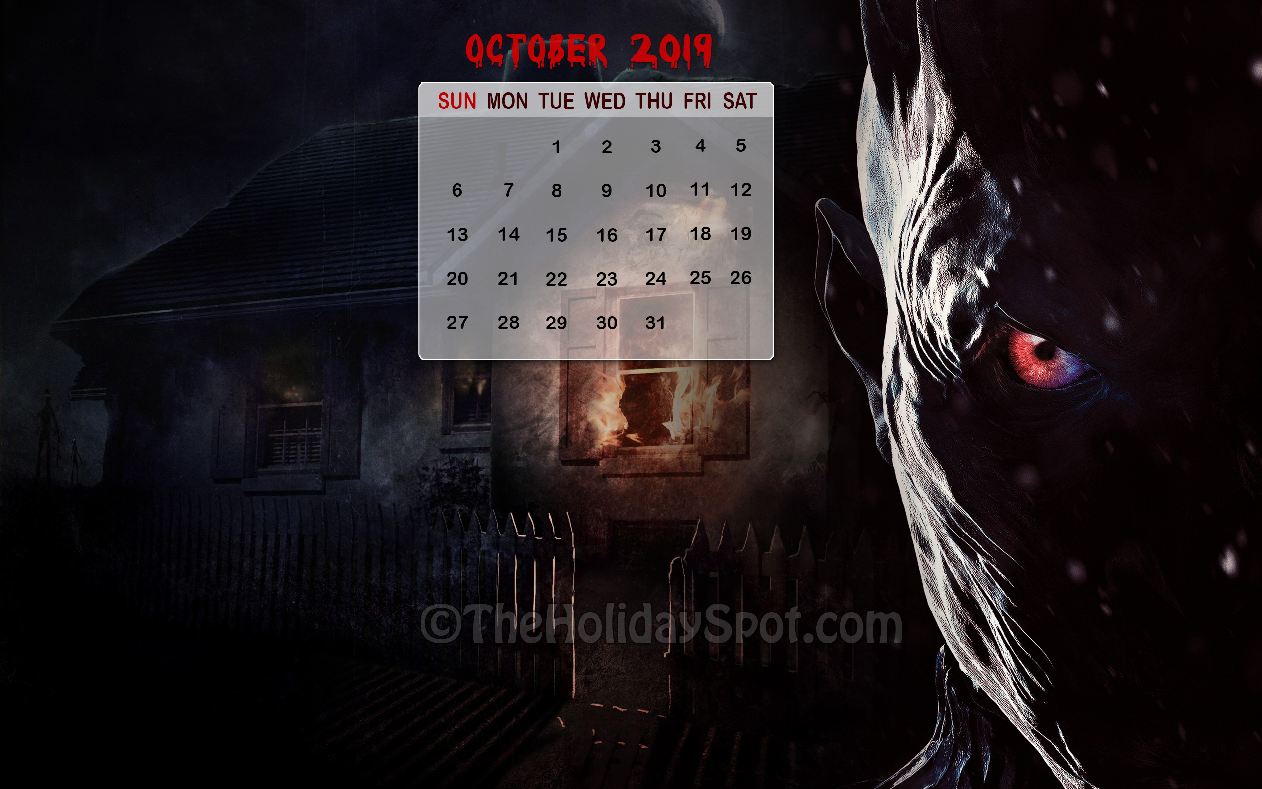 Halloween Themed Calendar Wallpaper For The Month Of - Night King Poster Season 8 , HD Wallpaper & Backgrounds