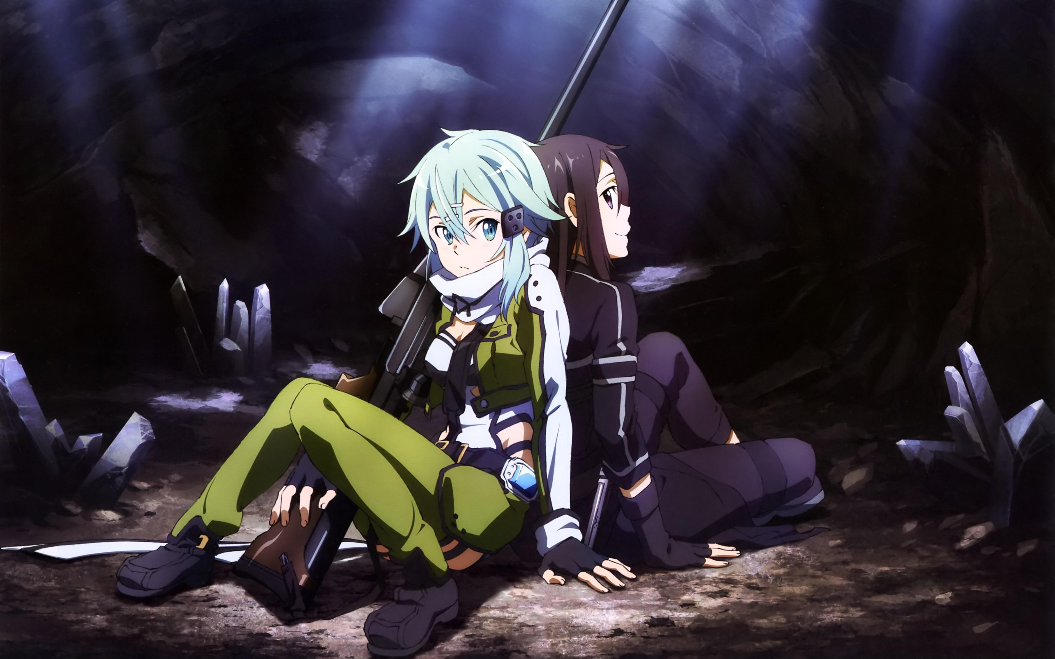 Download Wallpaper From Anime Sword Art Online Ii With - Sword Art Online Wallpaper Kirito And Sinon , HD Wallpaper & Backgrounds