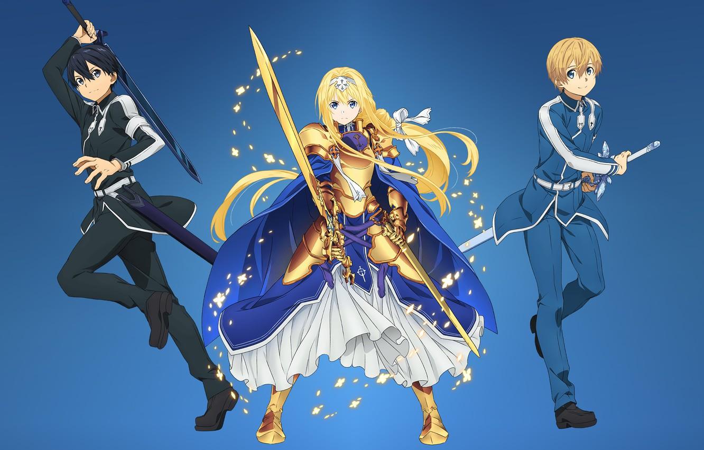 Photo Wallpaper Kawaii Girl Sword Gold Armor Anime Sword