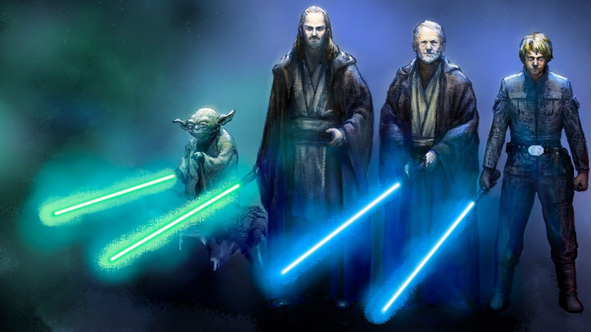 Luke Obi Wan Qui Gon Yoda , HD Wallpaper & Backgrounds