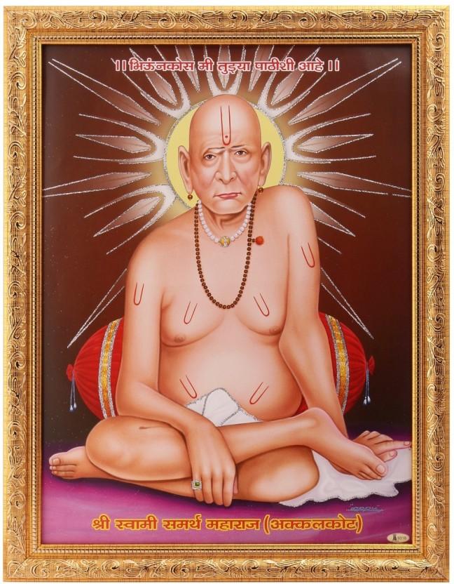 Silver Zari Work Photo Of Swami Samarth Maharaj In - Full Hd Swami Samarth , HD Wallpaper & Backgrounds