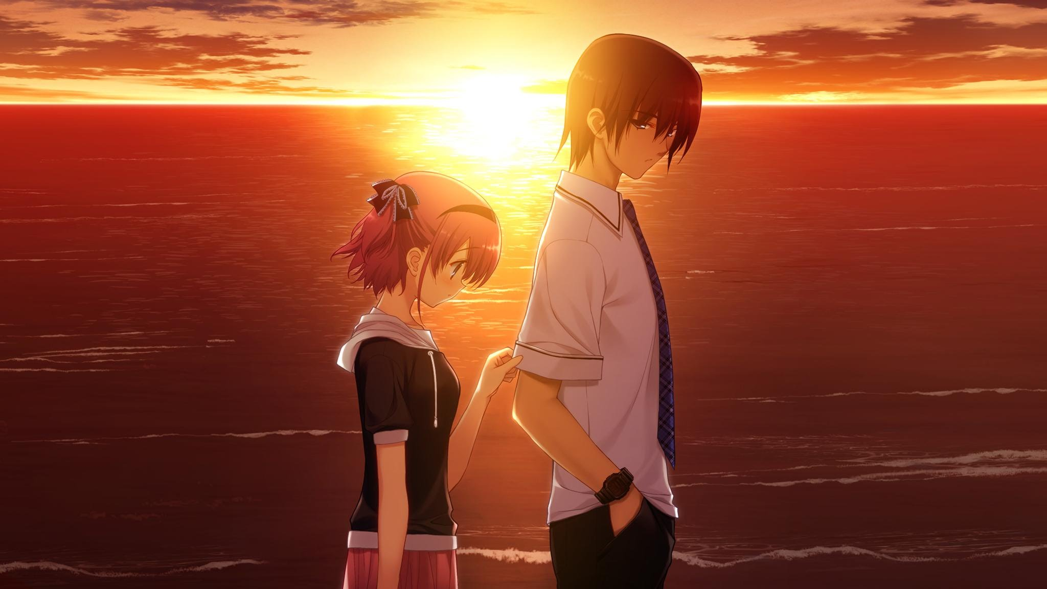 Sad Couple In The Sunset Wallpaper Cute Anime Couples 2017