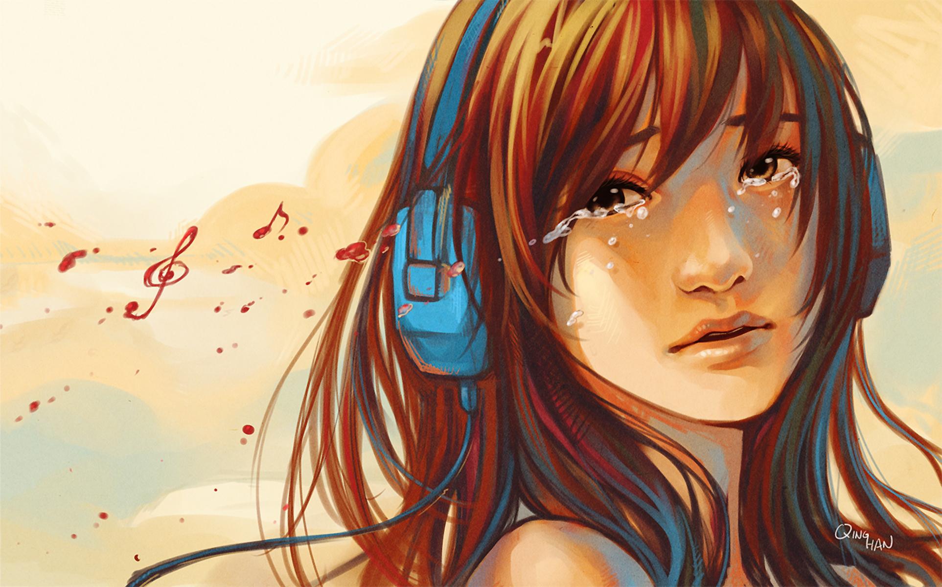 Sad Anime Girl Listening To Music Drawing - Gambarku