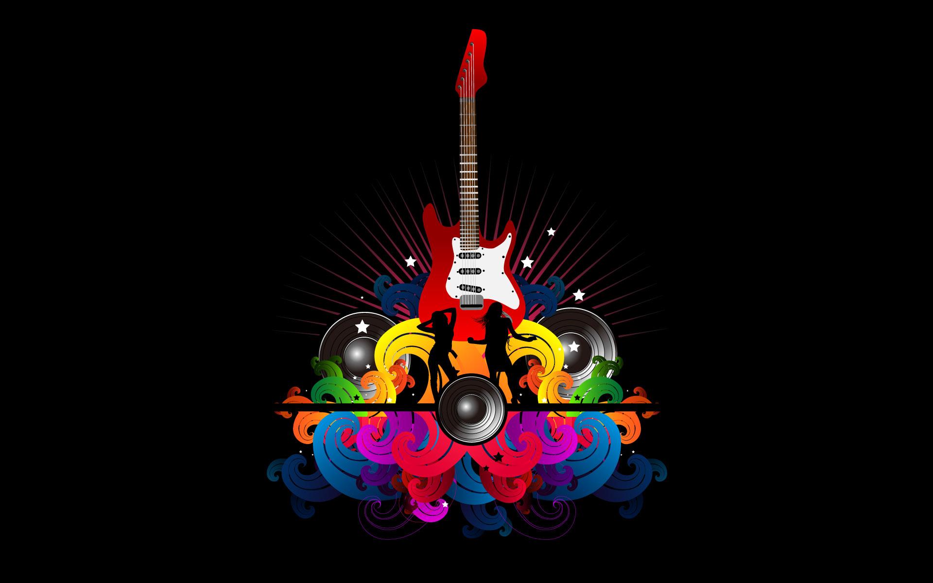 Abstract Guitar Wallpaper Desktop Background - Background Music Black Hd , HD Wallpaper & Backgrounds