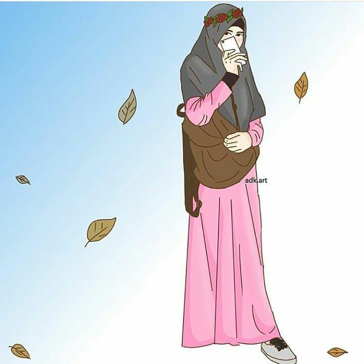 Kartun Muslimah Keren Cantik Gaul - Kartun Muslimah Terbaru 2018 , HD Wallpaper & Backgrounds