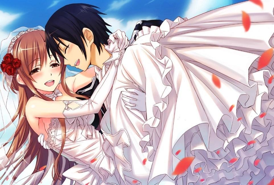 Download Gambar Kartun Keren Dan Romantis - Sword Art Online Kirito Asuna Mariage On Itl.cat