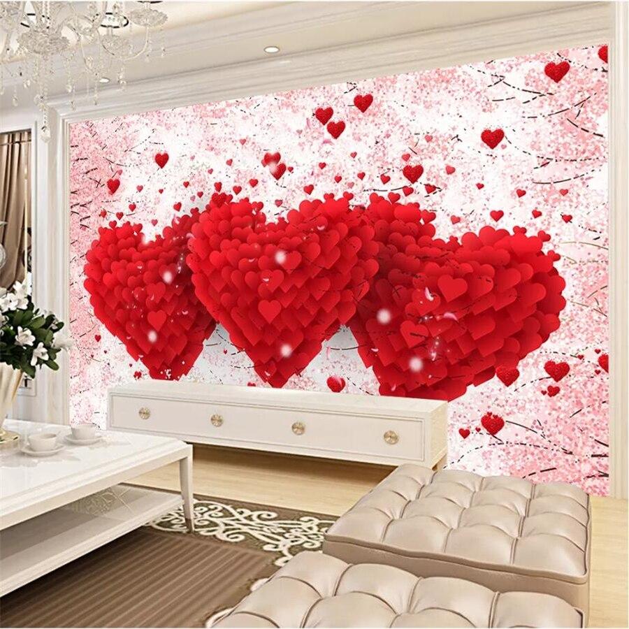 Beibehang Disesuaikan Besar Wallpaper 3d Cinta Romantis