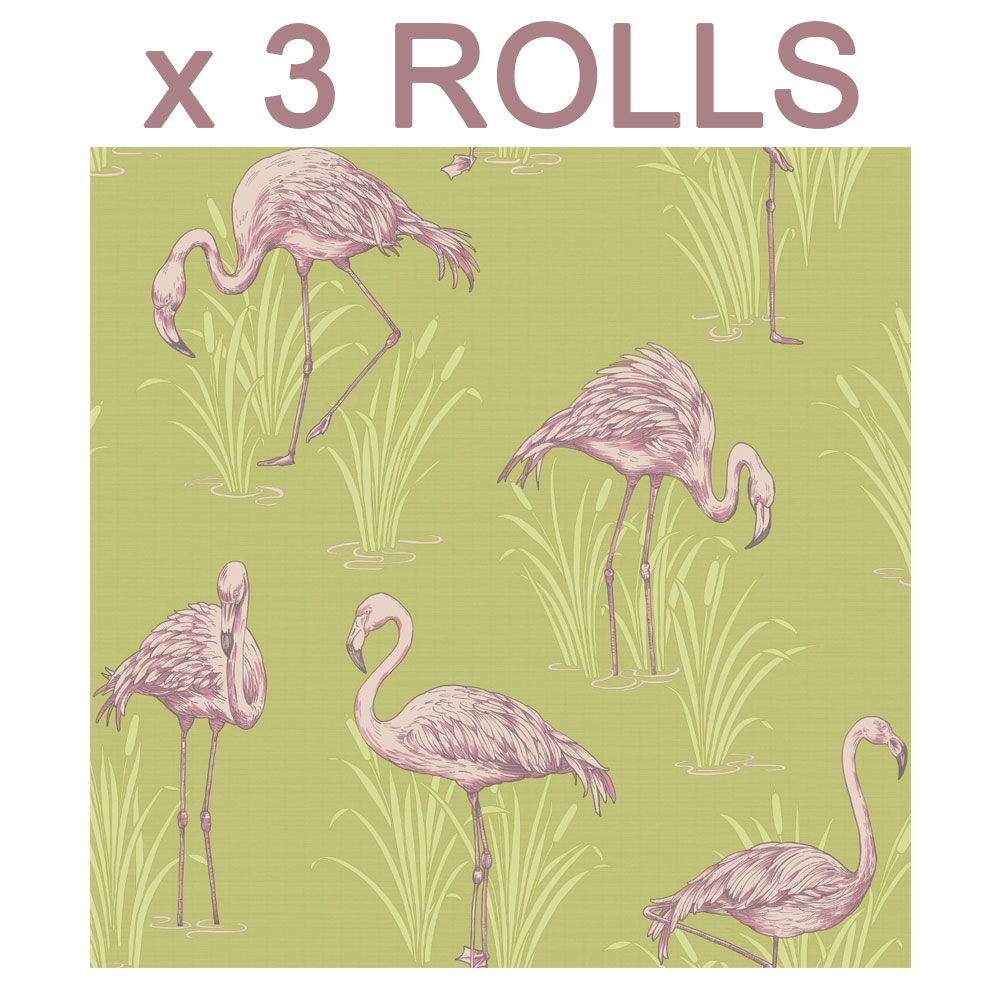 Details About Pink Flamingo Wallpaper Yellow Tropical