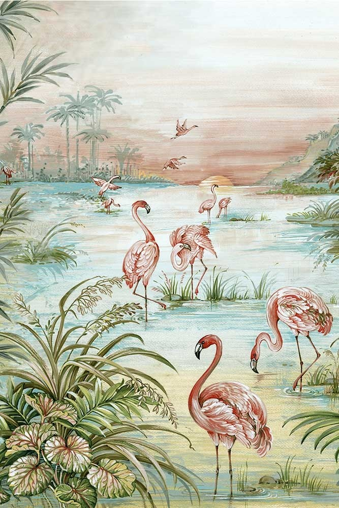 Close Up Image Of The Flamingo Chinoiserie Wallpaper Behang