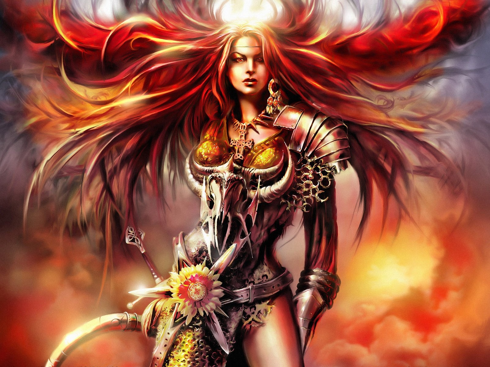 Beautiful Women Wallpaper Fantasy Illustrator Blood Magic
