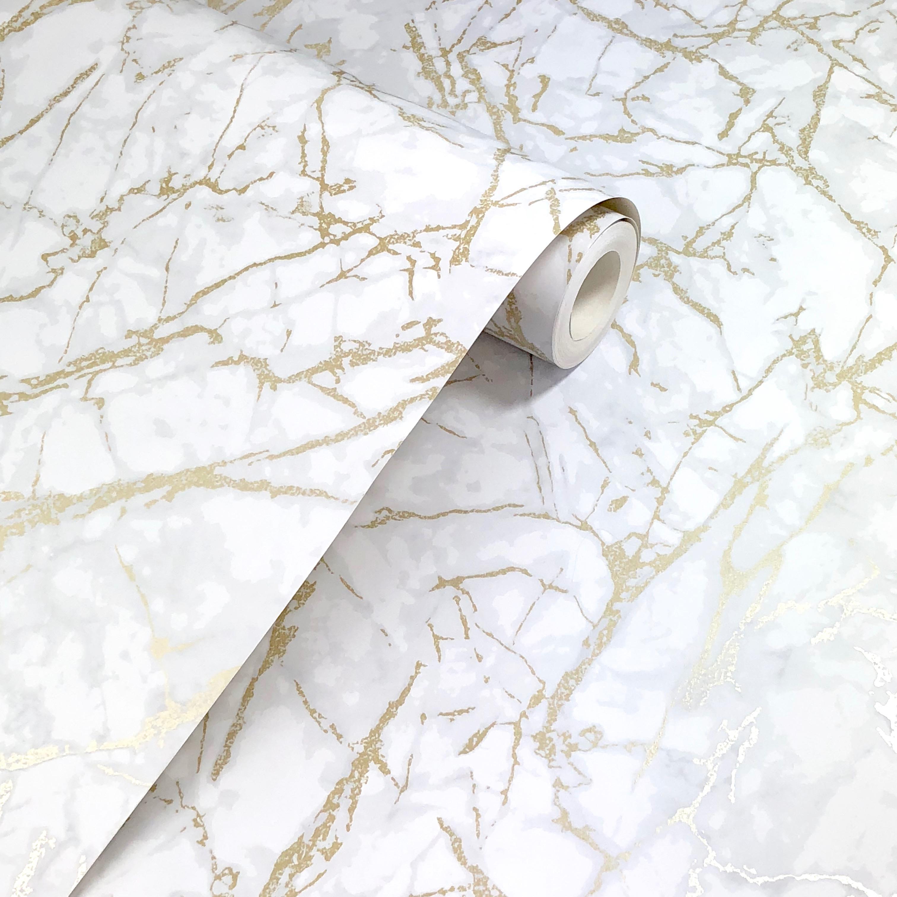 Fine Decor Metallic Marble Whitegold Wallpaper Frost