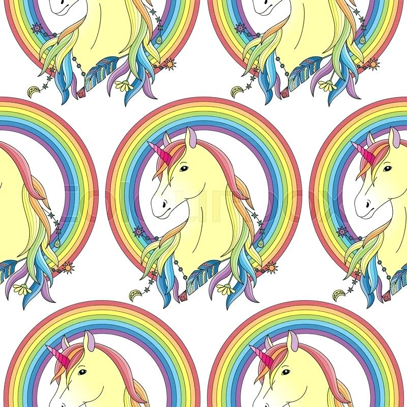 Fairytale Wallpaper Stock Vector Of Unicorn With Rainbow - Yellow Horse Print , HD Wallpaper & Backgrounds