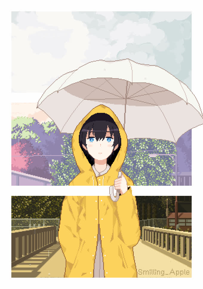 Anime Rainy Day Pixel Animated Iphone Wallpaper Gif - Anime Pixel Art Gif , HD Wallpaper & Backgrounds