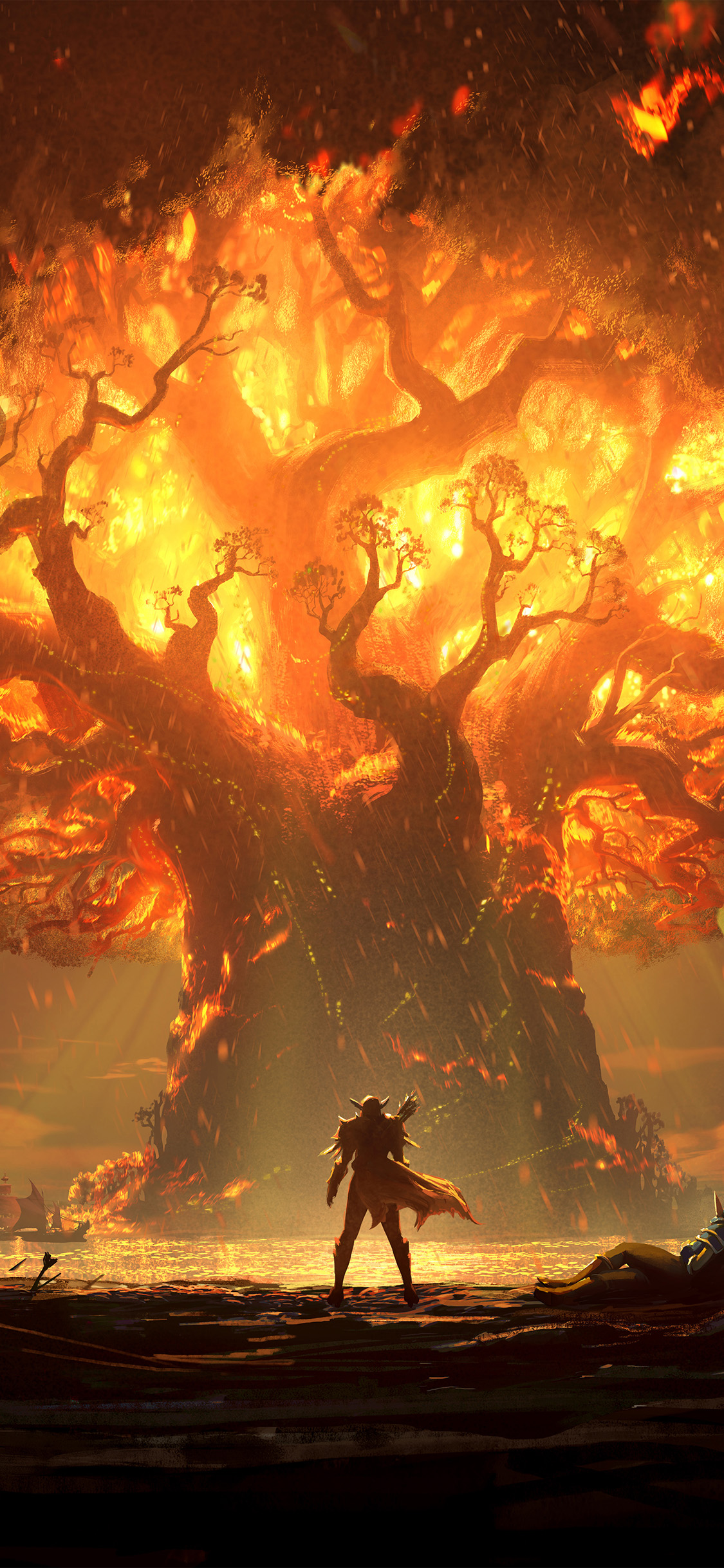 Vy38 Tree Anime Hero Pattern Background Cool Wallpaper Iphone X