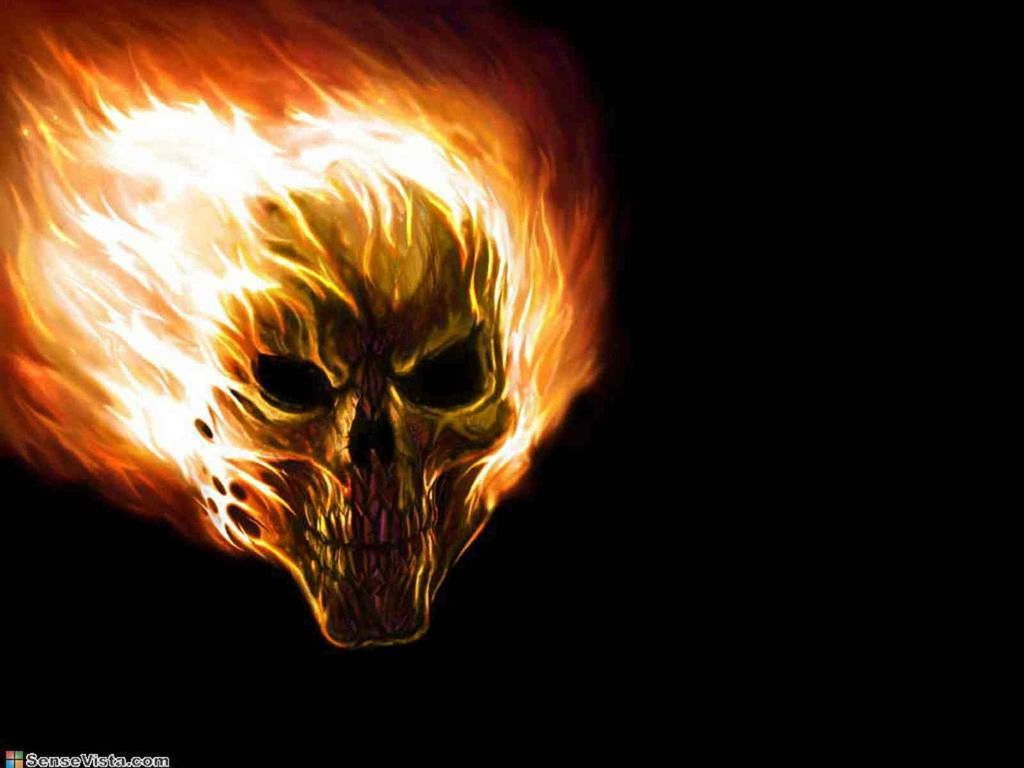 Flame Paintings - Fire Skull Wallpapers For Desktop , HD Wallpaper & Backgrounds