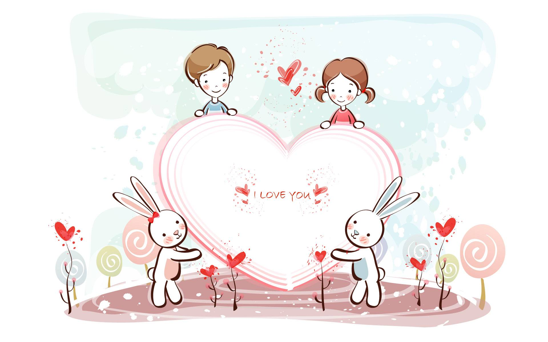 Cute Cartoon Love Couple Wallpaper Desktop Wallpaper February