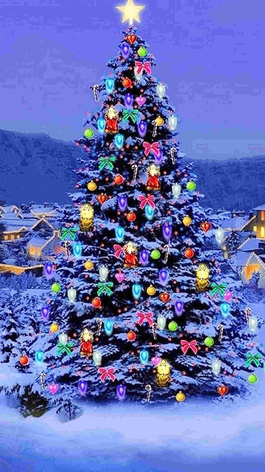 Awesome Animated Christmas Wallpaper For Iphone 6 Plus - Christmas Tree In The Mountains , HD Wallpaper & Backgrounds