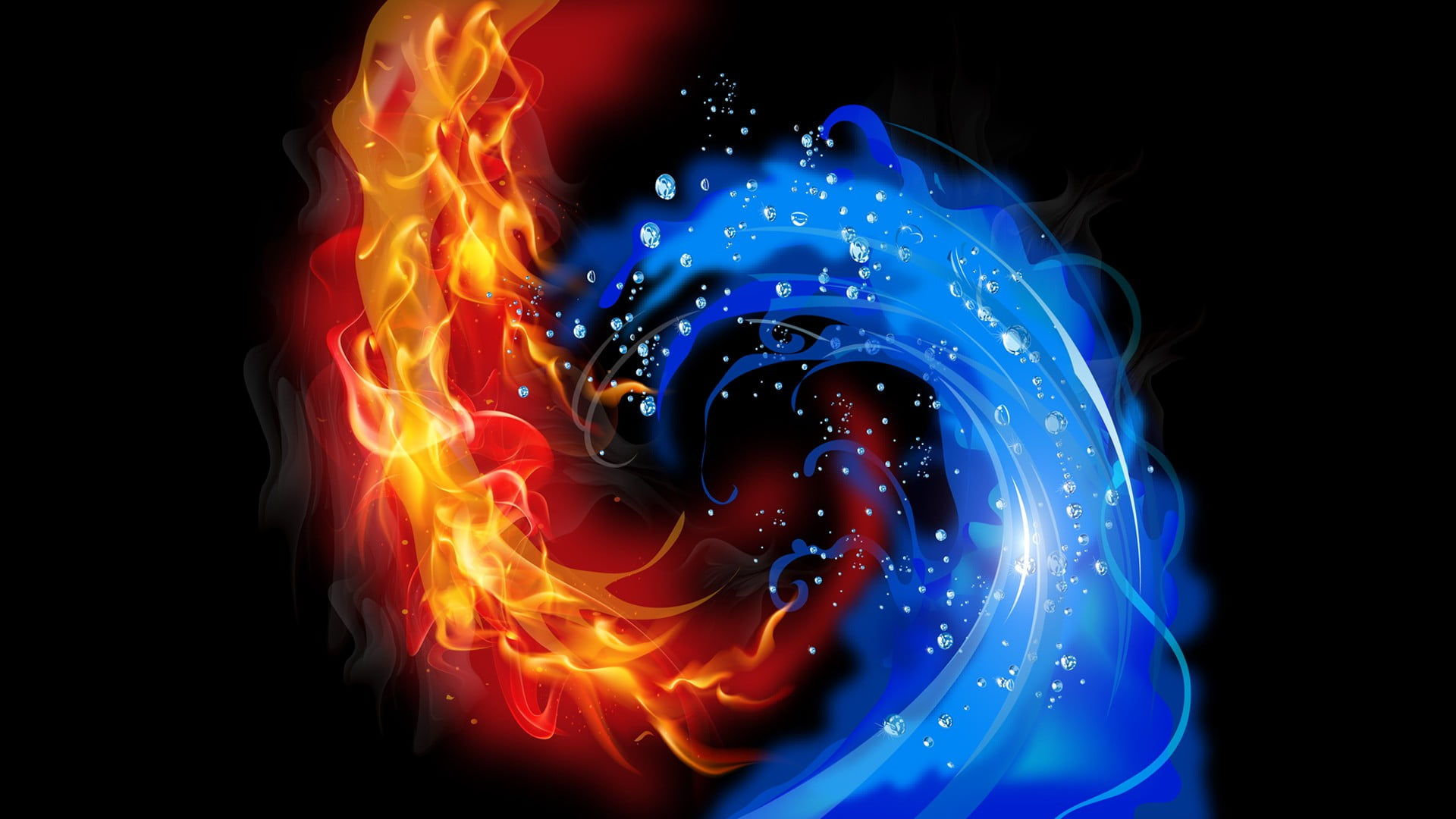 Fire And Ice Wallpaper Abstract Black Background Fire Water
