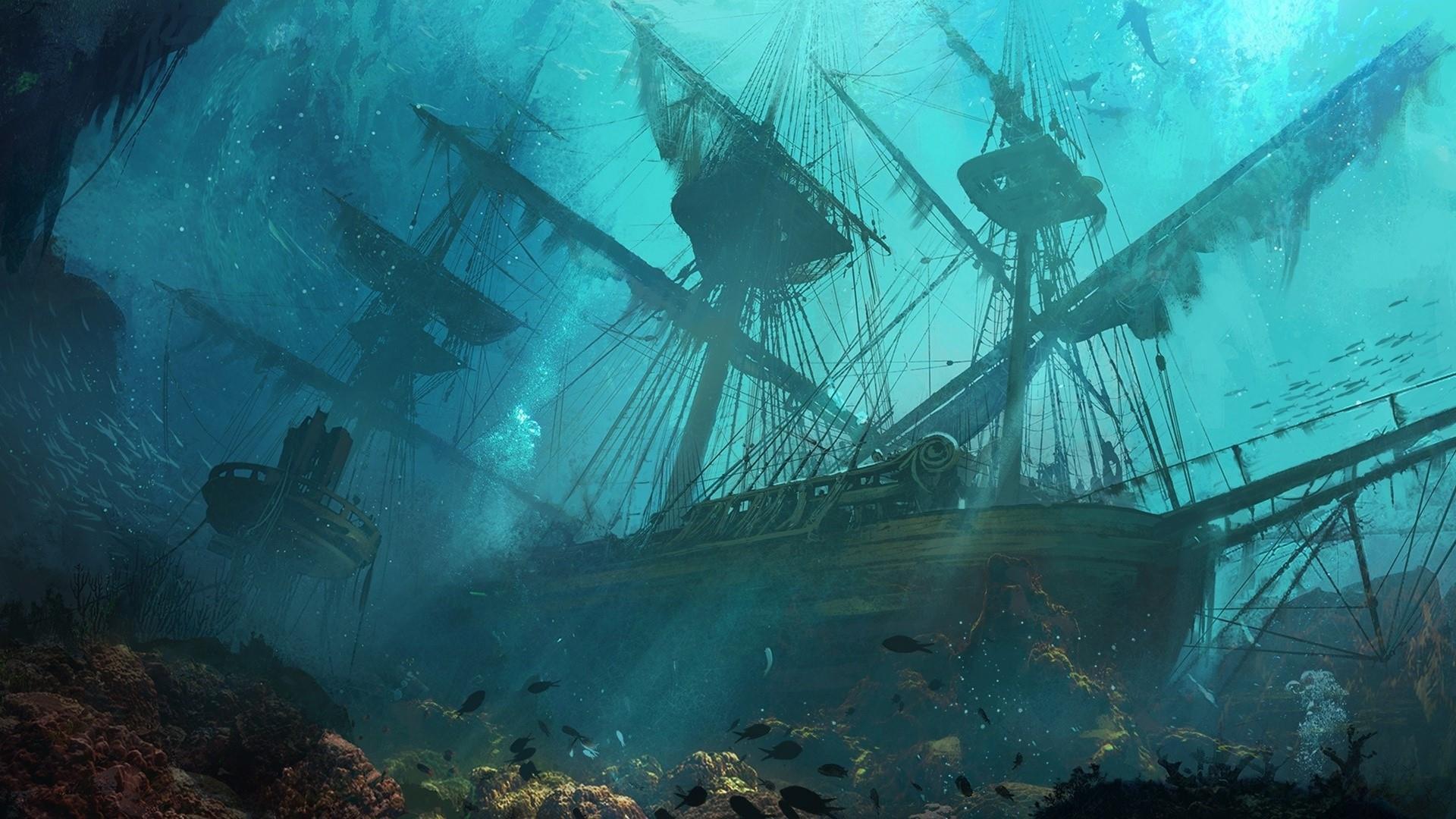 Fantasy Underwater Wallpaper Hd Sunken Pirate Ships Underwater