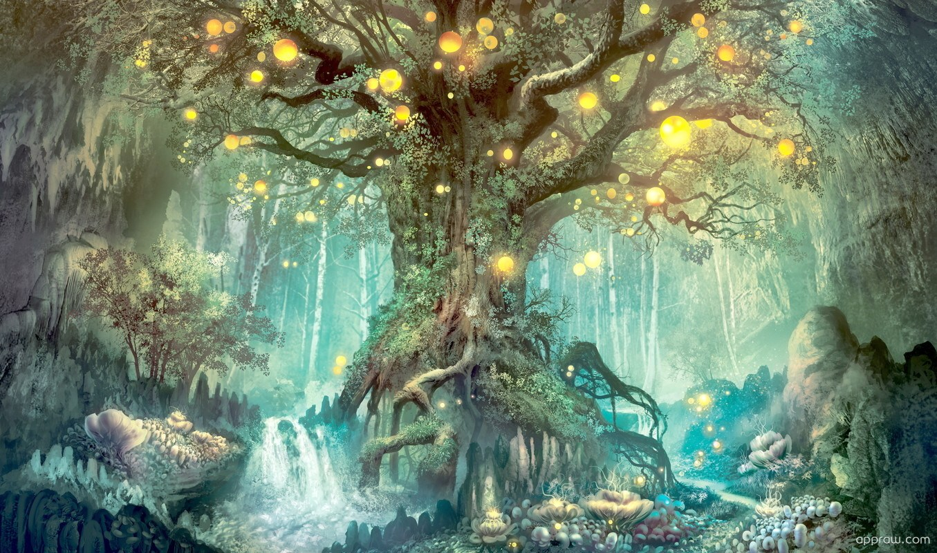 Magical Tree Within A Fantasy World Wallpaper Download - Forest Fantasy Landscape , HD Wallpaper & Backgrounds