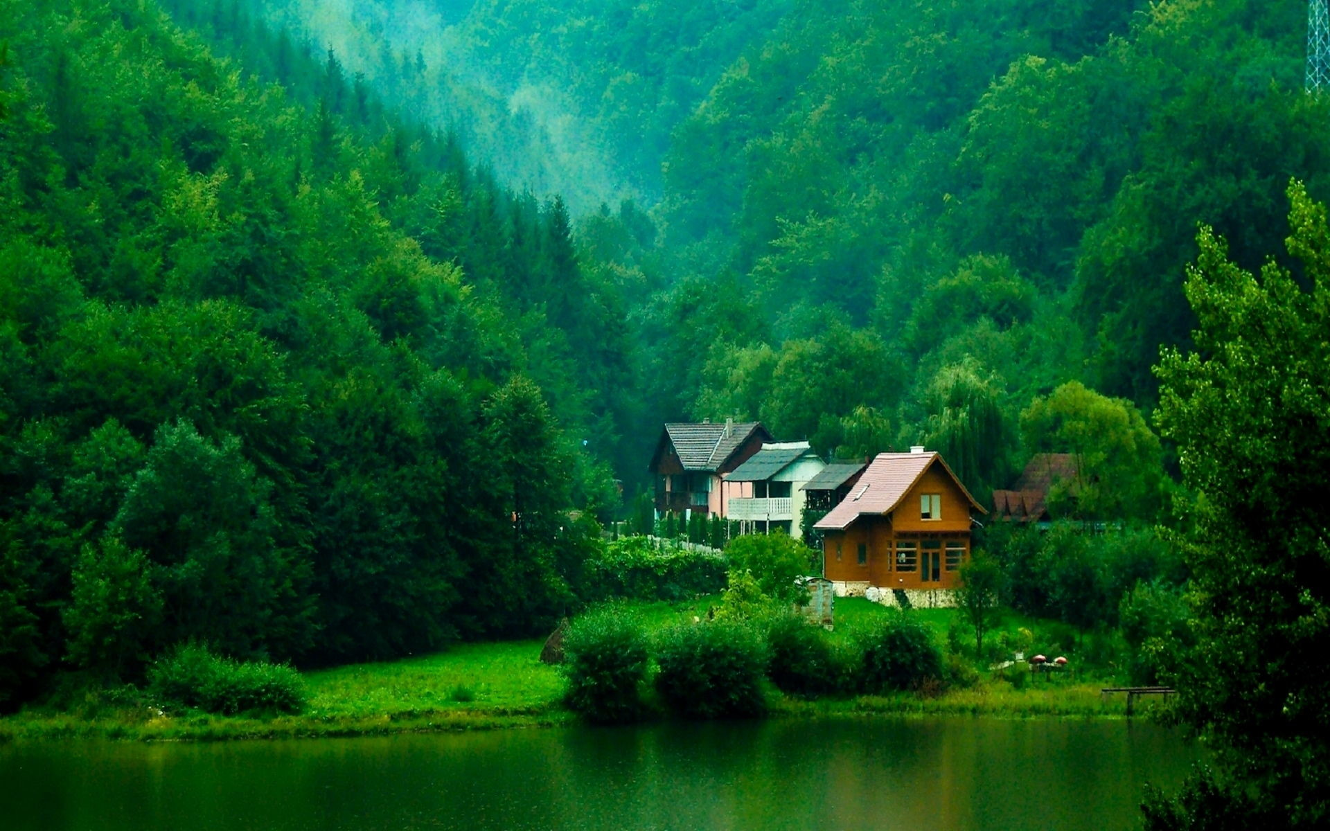 Background Computer Desktop Free Wallpaper Full Size - House In Green Forest , HD Wallpaper & Backgrounds